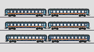 "Märklin HO: Set reizigersrijtuigen ""Tin Plate"" (NMBS)."