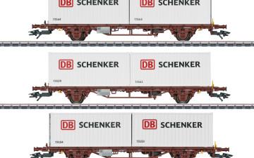 MÄRKLIN 47725 : H0 3-delige set containerwagens